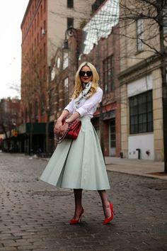 Los colores pastel, como esta falda midi, son tendencia en #primavera2014
