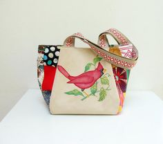 Woodland Bird Bag Vintage Embroidery and Patchwork by StarBags