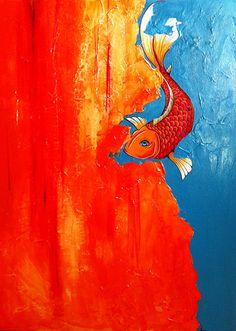 Large Beautiful Koi Fish Painting/mixed media by JaeArt on Etsy, $250.00