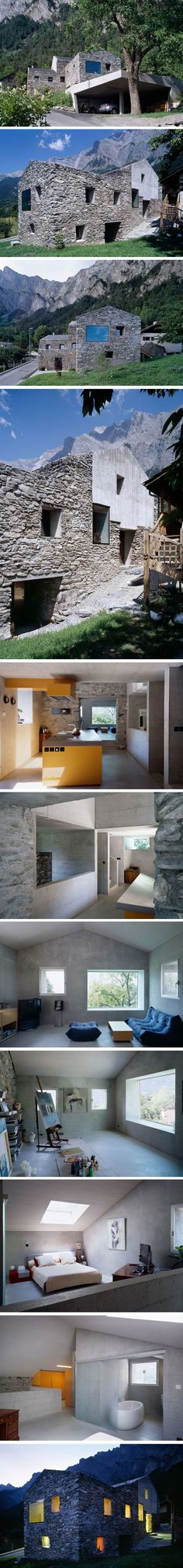 Rénovation à Chamoson par Savioz Fabrizzi Architecte; the house, the location and the studio. Not the garage. Architecture Renovation, Architecture Résidentielle, Amazing Architecture, Exterior Design, Interior And Exterior, Archi Design, Stone Houses, Modern House Design, Beautiful Homes