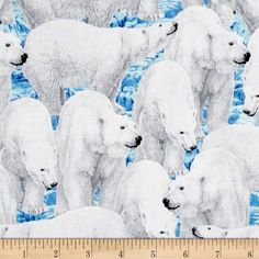 Northern Lights Polar Bears Blue from @fabricdotcom  Designed by Liz Goodrick Dillon for Quilting Treasures, this icy cotton print collection is perfect for quilting, apparel, and home decor accents. Colors include shades of shades of blue, shade sof white, and grey.