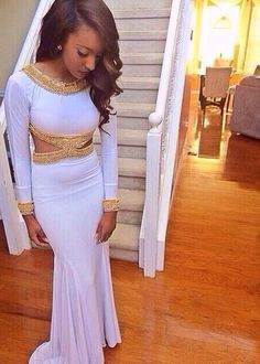 b6d6d2d9058 White Prom Gown Sexy Mermaid Evening Dress With Gold Beading Backless Long  Sleeves Prom Dresses For 2016 Teens Fashion