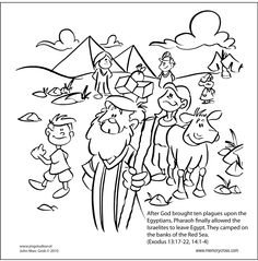 Moses parting the Red Sea Bible Story Card by Memory Cross Ladybug Coloring Page, Cat Coloring Page, Colouring Pages, Printable Coloring Pages, Adult Coloring Pages, Coloring Books, Moses Red Sea, Parting The Red Sea, Spiderman Coloring