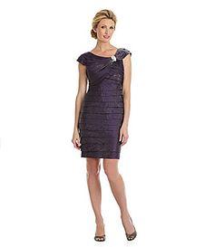 London Times Jeweled ShutterPleat Dress #Dillards in Eggplant