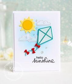 Hello Sunshine card by Key Miller for Paper Smooches - Kite die, Spectrum Icons dies, Summer Lovin