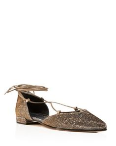 Stuart Weitzman Gilligan Metallic Lace Up d'Orsay Flats | Bloomingdale's