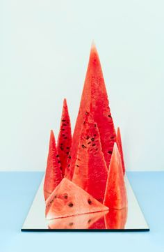 mountains of watermelon // cool food styling