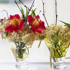 Simple Christmas Centerpieces: Little but Lasting : Decorate your table with small arrangements of alstroemeria and birch twigs. We added a filler of beige rice flowers and long, green amaranth seed heads. Find similar shaped flowers at your local florist or grocery store. Or clip twigs from your yard for a personal touch.