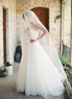 Beautiful bridal gown + veil