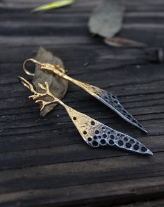 24k Goldplated Sterling Silver earrings - with half dark patina, nature inspired earring, drop earring