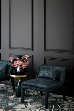 a pair of Carmen MKII Chairs upholstered in Leopardo from the Marjorelle collection by Catherine Martin for Mokum. This jewel toned leopard print fabric, works well on a statement chair or as scatter cushions. The Carmen MKII is made to order in Melbourne by Arthur G. #australiandesign #leopardprint #designerrugs #gatsby #interiors #darkinteriors See more at arthurg.com.au