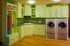 Interior, The Best Laundry Room Layouts Design Ideas: Picturesque Green Laundry Room Design Ideas Laundry Room Layouts, Laundry Room Remodel, Laundry Room Cabinets, Basement Laundry, Laundry Room Organization, Laundry Room Design, Laundry Storage, Laundry Area, Diy Cabinets