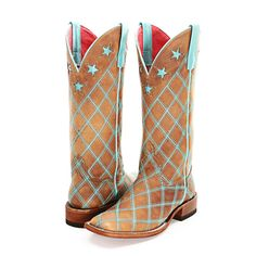 BootDaddy Collection with Macie Bean Turquoise Patchwork Cowgirl Boots|All Ladies BootDaddy Boots