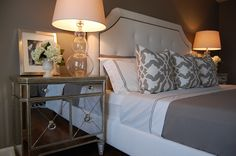 Our Borghese Mirrored Nightstands are the final touch of glam to this bedroom