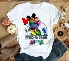 Dinosaur T-rex and Mickey Mouse wrong Park shirt, sweat shirt, lady v-neck. Universal Studios shirts, Walt Disney World shirts, Disney vacation Disney World Outfits, Disney World Shirts, Cute Disney Outfits, Funny Disney Shirts, Disney Themed Outfits, Disney Vacation Shirts, Disneyland Outfits, Disney Clothes, Dinosaur Shirt