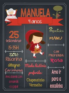Red Party Themes, Red Riding Hood Party, One Year Birthday, Magic Party, Avengers Birthday, Ideas Para Fiestas, Chalkboard Signs, Conte, Baby Cards
