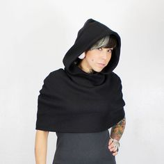 Hey, I found this really awesome Etsy listing at https://www.etsy.com/listing/115229432/black-hooded-scarf-poncho-snood-cape