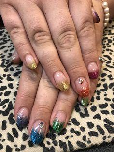 Gel nail glitter rainbow pride nail art Glitter Gel Nails, Rainbow Pride, Nail Art, Beauty, Nail Arts, Beauty Illustration, Nail Art Designs