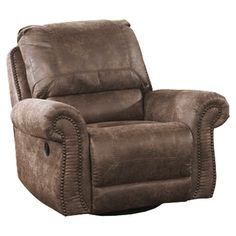 Oberson Swivel Glider Recliner - Bernie And Phyls  sc 1 st  Pinterest & Darren Saddle Brown Recliner | Recliner Saddles and Ottomans islam-shia.org