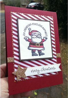 Stamps - Get your Santa On, Good Greetings. Colours - Cherry Cobbler, Early Espresso, Whisper White, Gold Glimmer