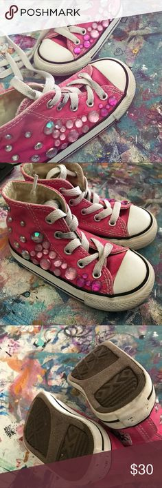 Custom bling converse Aren't these so cute !!!  size toddler 7 recycled fashion by Trigger Hippie. Pink blings on pink converse high tops Converse Shoes Sneakers
