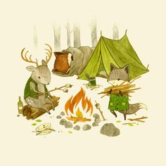 Camping in the Woods Art Print