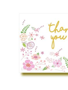 Printable Floral Thank You Notecard  #floral #thanyou #card, #printable #thanks #baby,#shower #bridal #shower #birthday  #party #favors #illustrated #notecard #Diy