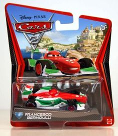 Disney Pixar Cars 2 Francesco Bernoulli #4 (Red, White & Green) by Mattel. $3.99. From Mattel. FRANCESCO BERNOULLI #4 * CARS 2 * Disney / Pixar 1:55 Scale 2011 Die-Cast Vehicle. Ages 3 and up.. Originally released in 2011.. 1:55 Scale Die Cast Vehicle - Vehicle Measures Approximately 3 Inches Long. On the back of the package is listed 2 #15s. Other card backs are listed as #15 & #16.. Save 50%!