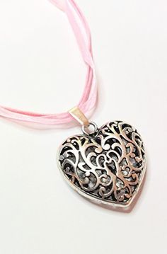Washer Necklace, Jewellery, Fashion, Pink, Oktoberfest, Neck Chain, Heart, Silver, Colors