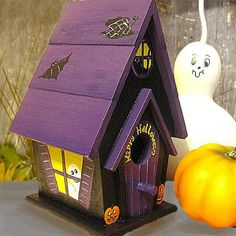 Halloween Hand Painted Birdhouse by PaintBrushedBoutique on Etsy, $44.00
