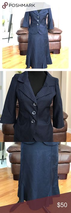 Traditional pinstripe suit The perfect business suit in traditional  blue pinstripe with fit and flare skirt and 3/4 sleeve jacket. Skirt is 24 inches, lined, zip back Merona Jackets & Coats Blazers