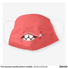 Fun monster mouth pattern washable reusable unisex cloth face mask Mouth Mask Fashion, Mask Online, Uk Fashion, Mask For Kids, Sensitive Skin, Snug, First Love, Gifts For Her, Unisex