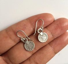 Coin Earrings Silver Coin Earrings Boho Earrings by Instyleglamour