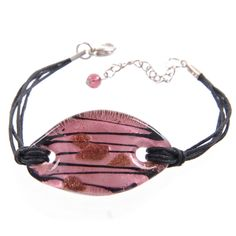 Glass Oval Bracelet with Black Cord - Deep Pink & Black, Puckator USA & Canada Giftware Wholesalers