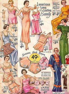 Gorgeous colour ad from 1934 for ladies undergarments. #ads #fashion #vintage #1930s #clothing #lingerie