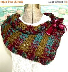 ON SALE Handmade Crochet Scarf Olive by WildHeartYarnings on Etsy