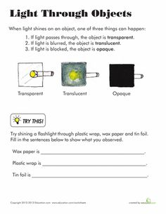 Worksheets: Light Through Objects