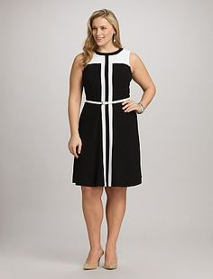 roz & ALI™ Plus Size Belted Colorblock Dress