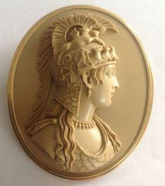 "Fabulous Lava Cameo of Athena Parthenos 2"" by 21/4"""