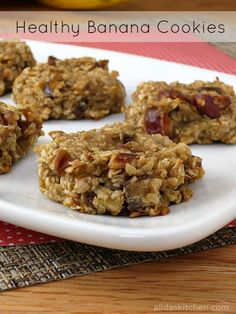 Healthy Banana Cookies at alidaskitchen.com.  Added pecans, cranberries and 1 egg.  Instead of just oat flakes, used millet, quinoa & buckwheat flakes too.  Added cardamom with the cinnamon. Yummy. Like oatmeal breakfast in a cookie ❤