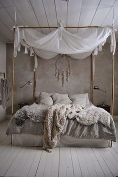 Bedroom, natural, cream and gray