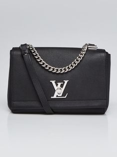 8229281f9aee Louis Vuitton Black Pebbled Leather Lockme II BB Bag