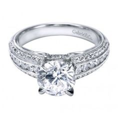 14K White Gold Vintage Cathedral Engagement Ring Wedding Day Diamonds