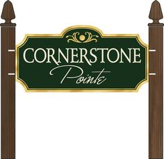 Freestanding outdoor subdivision sign for Cornerstone Pointe community. Routed hdu. Design submission. www.customoutdoorwoodensigns.com