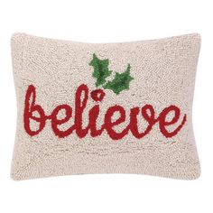 Shop Wayfair for Peking Handicraft Believe Holly Hook Wool Throw Pillow - Great Deals on all Decor products with the best selection to choose from!