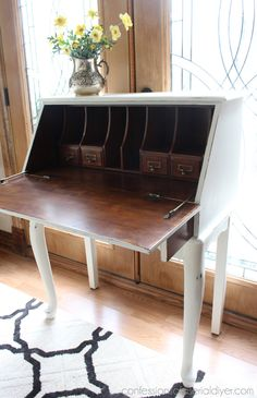 Welcome to Themed Furniture Thursday, where I and several other furniture redoers make over a piece of furniture to fit a different theme each month! Built In Furniture, Refurbished Furniture, Repurposed Furniture, Painted Furniture, Desk Makeover, Furniture Makeover, Diy Furniture, Repainting Furniture, Antique Writing Desk