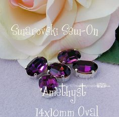 Vintage Amethyst Sew On - Swarovski Crystal 14 x 10 Oval GF 4140 in a SP 4-hole Prong Setting - Wire Jewelry Supply - Component