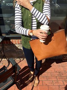 Fall style. I really like the vest/sleeveless green with the stripes. I like pops of color.