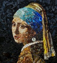 Girl with the Pearl Earring. British artist Jane Perkins creates beautiful works of art using everyday objects like marbles, toys or buttons picked up from recycling centres, second-hand shops and junkyards.