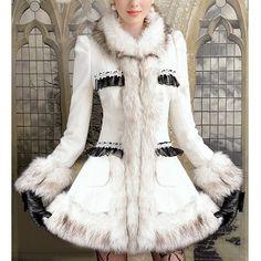 Elegant Turn-Down Collar Fake Fur Embellished Long Sleeve Ruffle Coat For WomenVintage Coats | RoseGal.com
